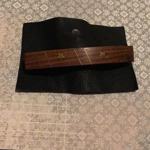 NWT Free People wood gold star & stripe barrette